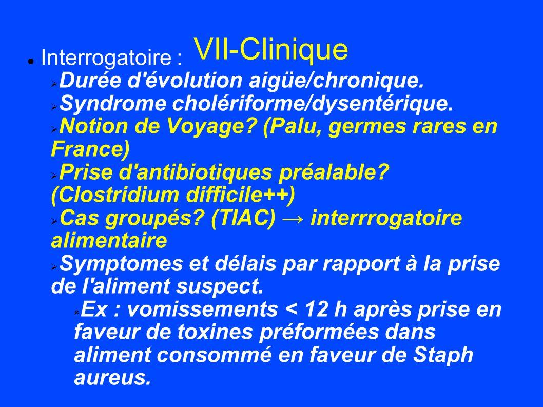 VII-Clinique Interrogatoire : Durée d'évolution aigüe/chronique. Syndrome cholériforme/dysentérique. Notion de Voyage? (Palu, germes rares en France)