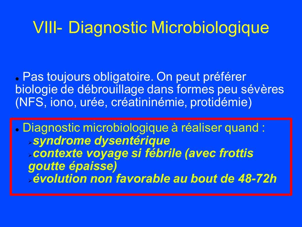 VIII- Diagnostic Microbiologique Pas toujours obligatoire. On peut préférer biologie de débrouillage dans formes peu sévères (NFS, iono, urée, créatin