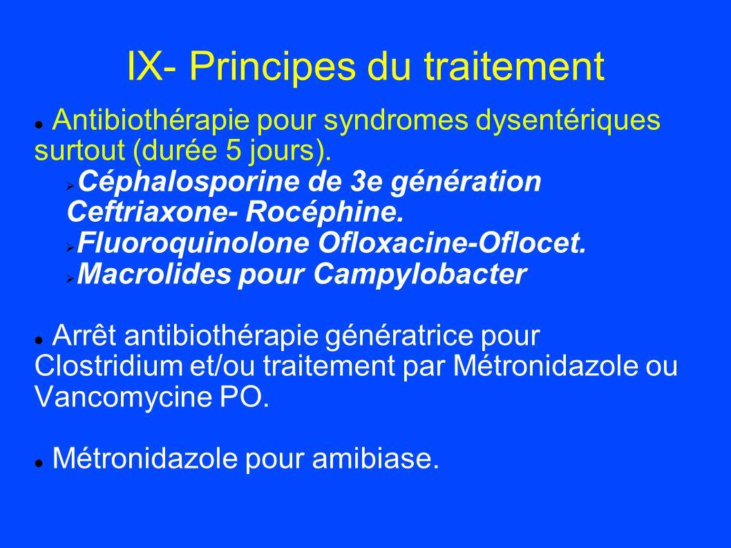 IX- Principes du traitement Antibiothérapie pour syndromes dysentériques surtout (durée 5 jours). Céphalosporine de 3e génération Ceftriaxone- Rocéphi