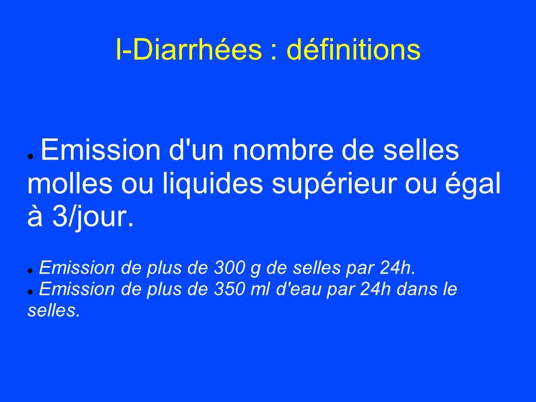 I-Diarrhées : définitions Emission d'un nombre de selles molles ou liquides supérieur ou égal à 3/jour. Emission de plus de 300 g de selles par 24h. E