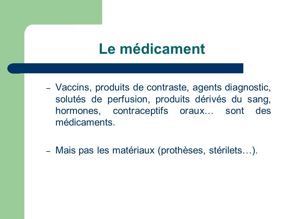 Le médicament – Vaccins, produits de contraste, agents diagnostic, solutés de perfusion, produits dérivés du sang, hormones, contraceptifs oraux… sont