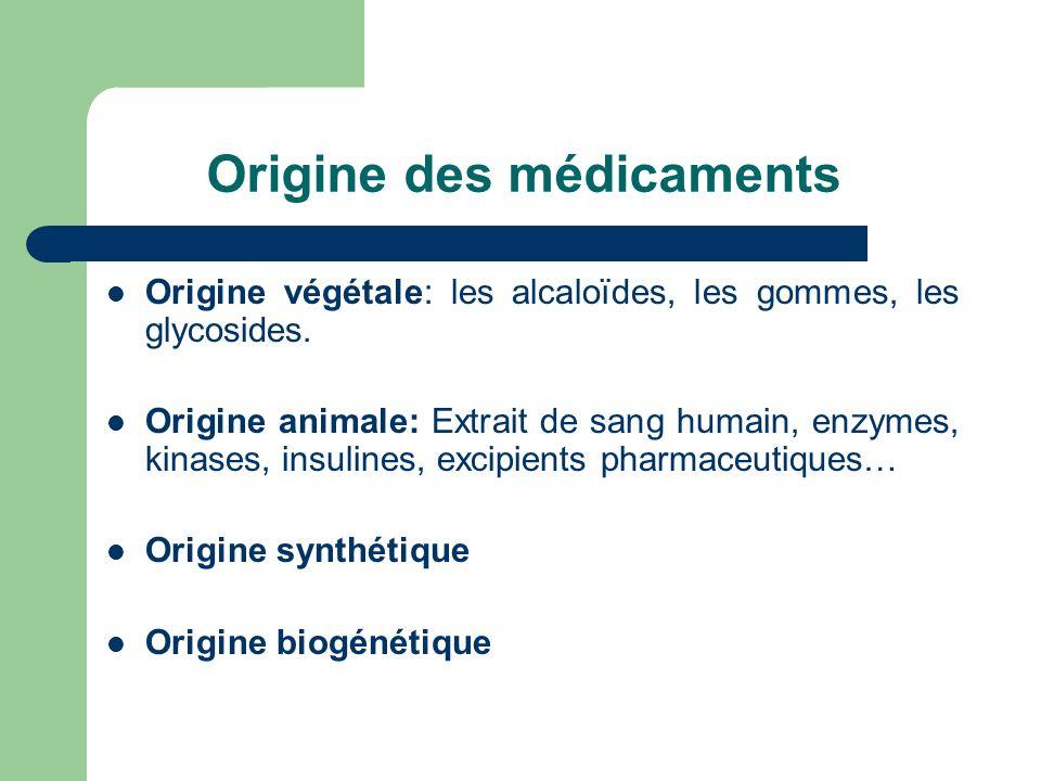 Origine des médicaments Origine végétale: les alcaloïdes, les gommes, les glycosides. Origine animale: Extrait de sang humain, enzymes, kinases, insul