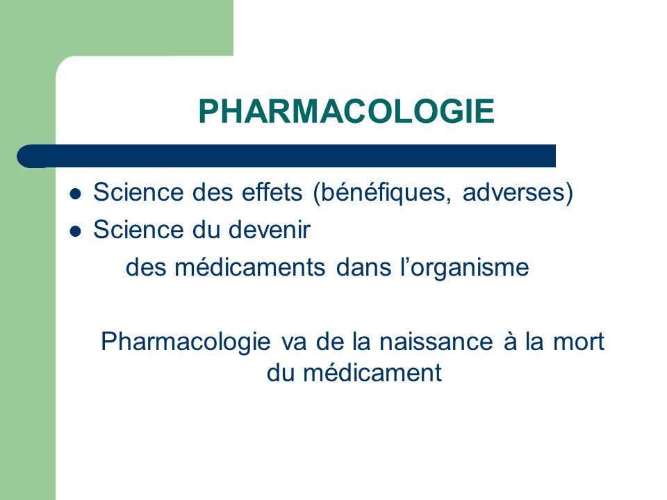 PHARMACOLOGIE Science des effets (bénéfiques, adverses) Science du devenir des médicaments dans lorganisme Pharmacologie va de la naissance à la mort