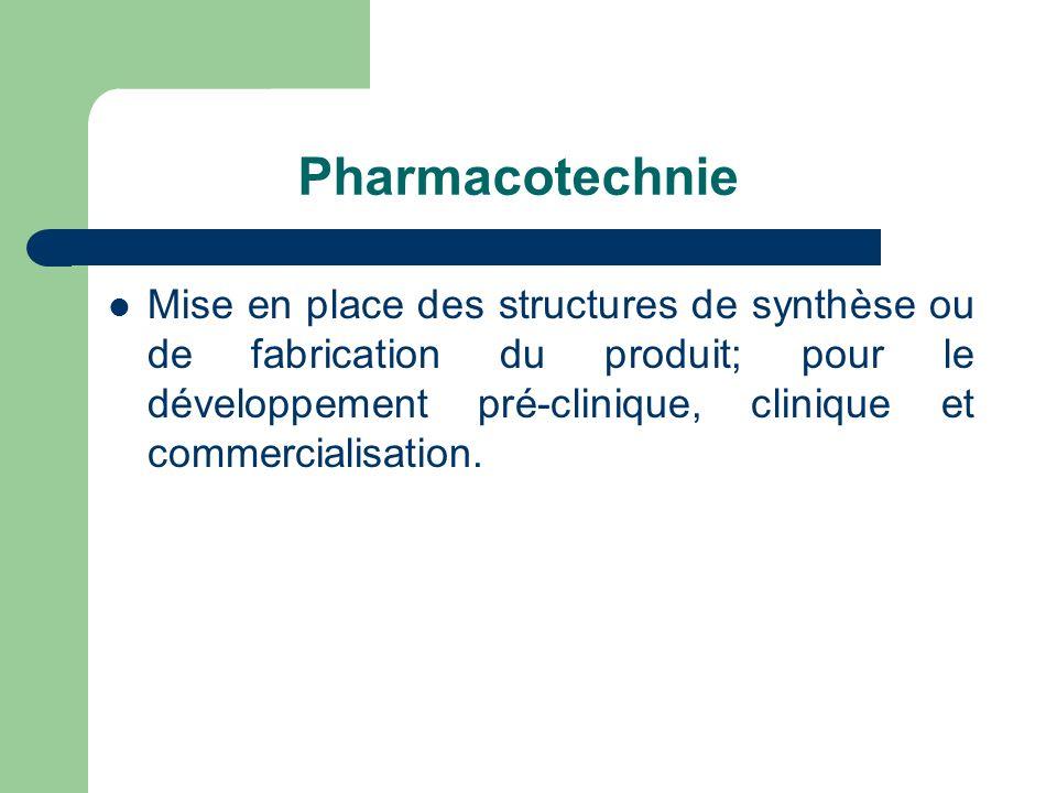 Pharmacotechnie Mise en place des structures de synthèse ou de fabrication du produit; pour le développement pré-clinique, clinique et commercialisati