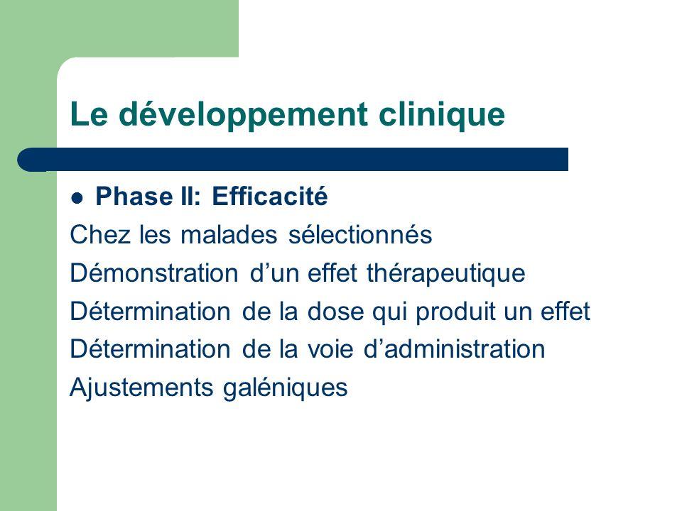 Le développement clinique Phase II: Efficacité Chez les malades sélectionnés Démonstration dun effet thérapeutique Détermination de la dose qui produi