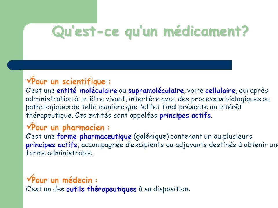 Quest-ce quun médicament? Pour un scientifique : Cest une entité moléculaire ou supramoléculaire, voire cellulaire, qui après administration à un être