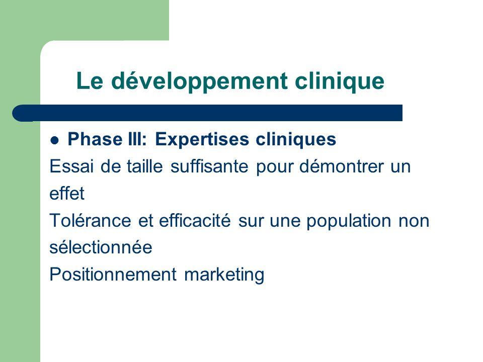 Phase III: Expertises cliniques Essai de taille suffisante pour démontrer un effet Tolérance et efficacité sur une population non sélectionnée Positio