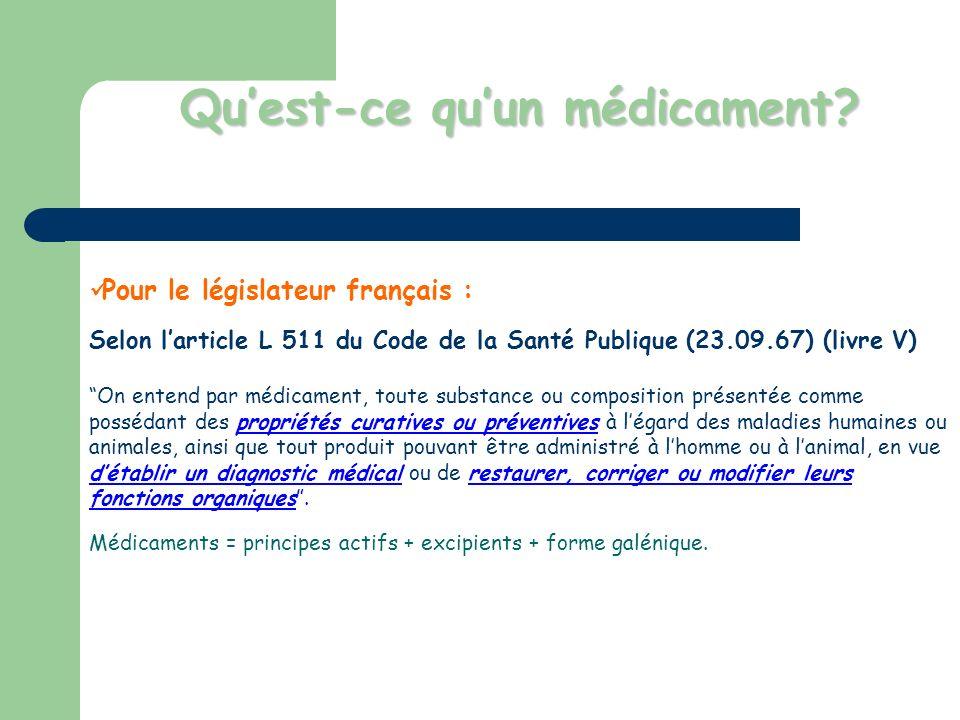 Pour le législateur français : Selon larticle L 511 du Code de la Santé Publique (23.09.67) (livre V) On entend par médicament, toute substance ou com