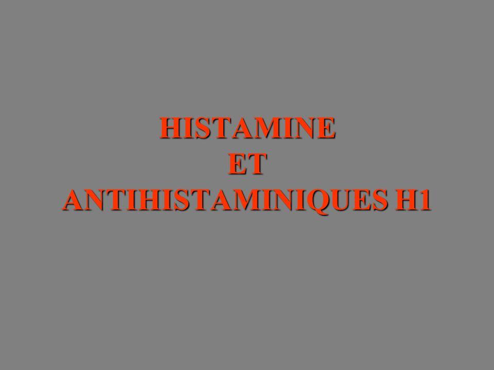 Récepteurs de lhistamine GTP H 1 Ca 2+ /NOS/cGMP PLA 2 GqGsGi/oGi/o H 2 AC H 3 AC (inhibition) PLCMAPK H 4 AC (inhibition) MAPK