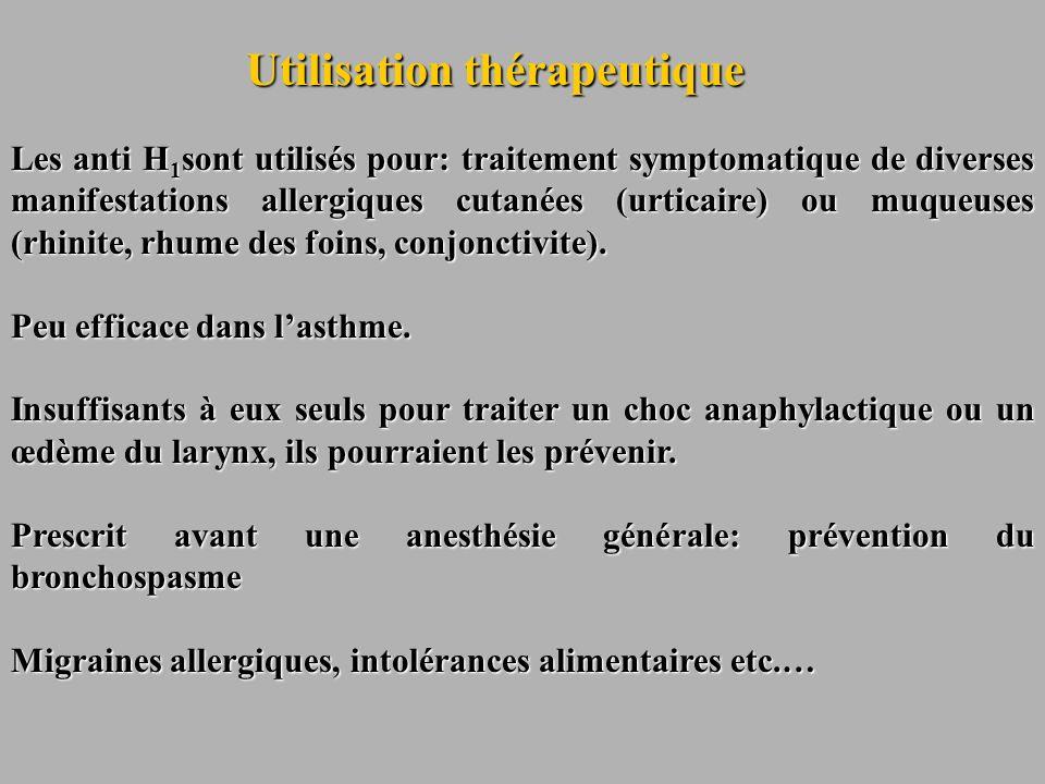 Utilisation thérapeutique Les anti H 1 sont utilisés pour: traitement symptomatique de diverses manifestations allergiques cutanées (urticaire) ou muq