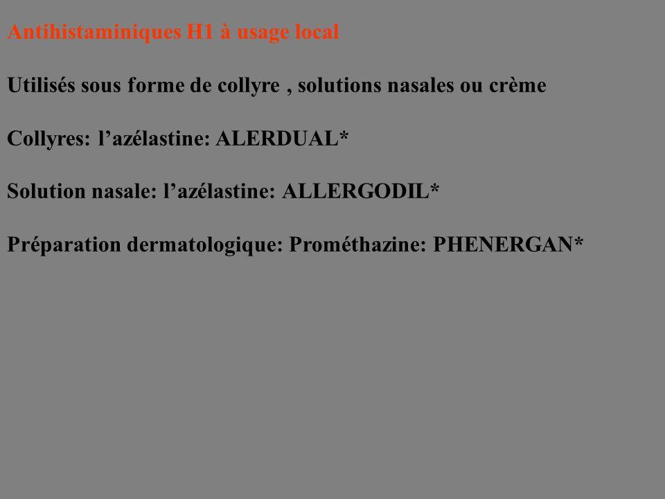 Antihistaminiques H1 à usage local Utilisés sous forme de collyre, solutions nasales ou crème Collyres: lazélastine: ALERDUAL* Solution nasale: lazéla