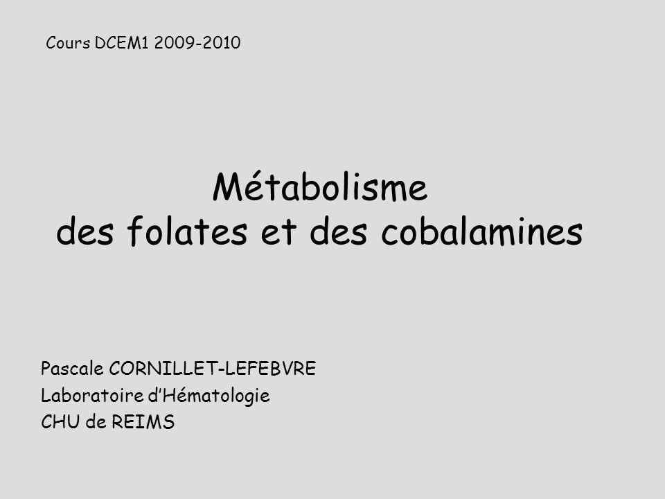 Métabolisme des folates et des cobalamines Pascale CORNILLET-LEFEBVRE Laboratoire dHématologie CHU de REIMS Cours DCEM1 2009-2010