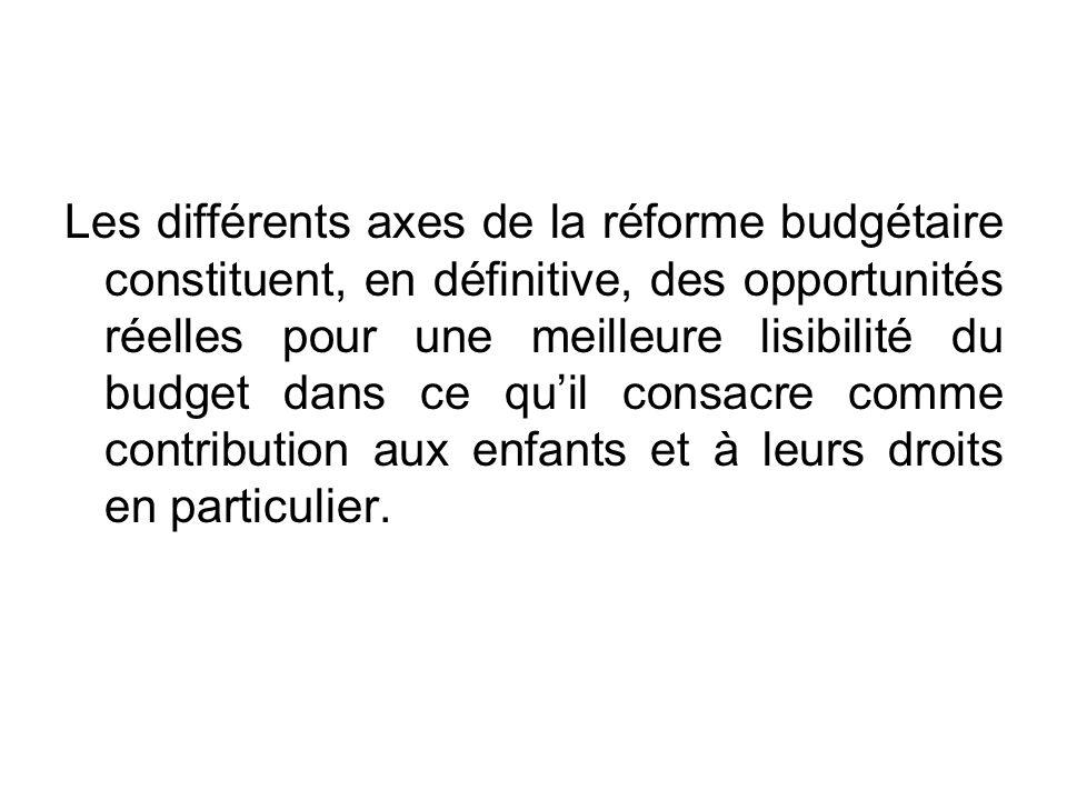 La réforme budgétaire La réforme budgétaire ayant pour objectif principal de substituer la logique des résultats à celle des moyens, doù lintérêt pour