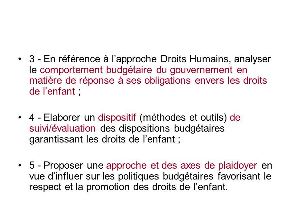 objectifs spécifiques Cinq objectifs spécifiques: 1- Évaluer les tendances majeures du gouvernement en matière de prise en compte des droits de lenfan