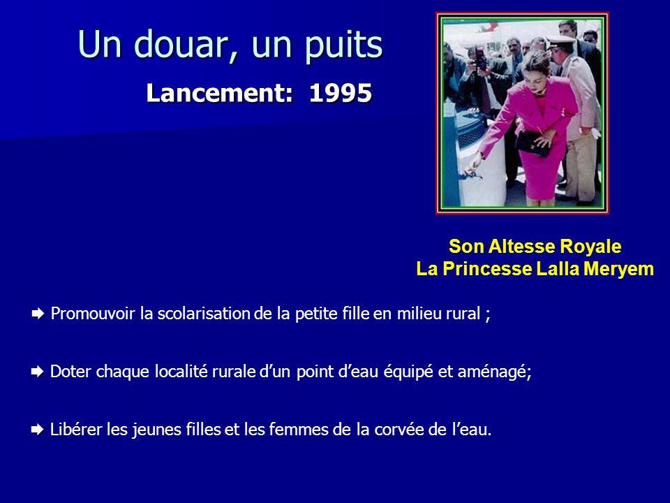 Un douar, un puits Lancement: 1995 Promouvoir la scolarisation de la petite fille en milieu rural ; Doter chaque localité rurale dun point deau équipé