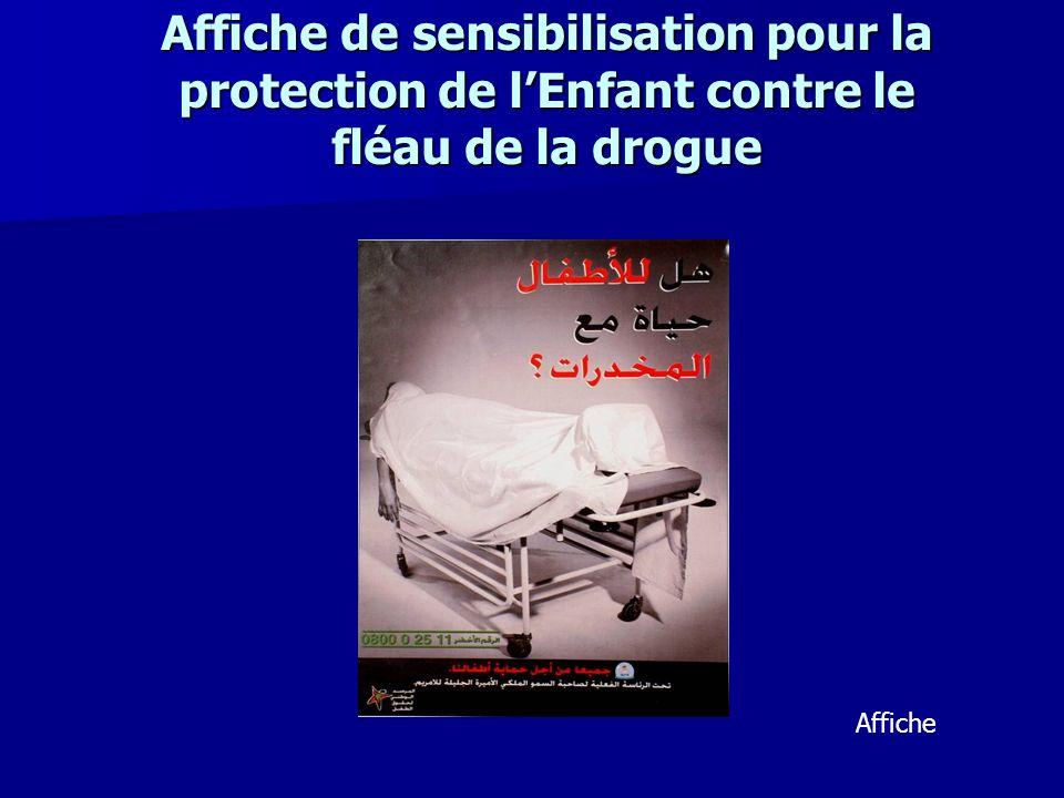 Affiche de sensibilisation pour la protection de lEnfant contre le fléau de la drogue Affiche