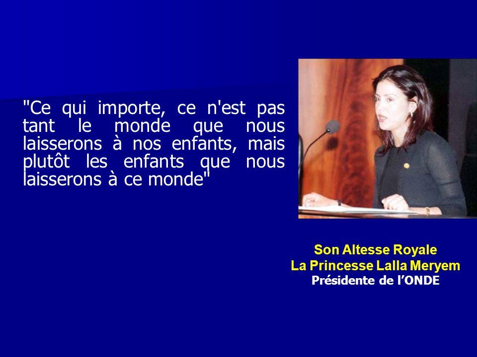 Convention des Nations Unies relative aux Droits de lEnfant 25 mai 1994: Organisation, à l initiative de Son Altesse Royale la Princesse Lalla Meryem, de la première édition du Congrès National des Droits de L Enfant (CNDE) pour la mise en oeuvre de cette Convention.