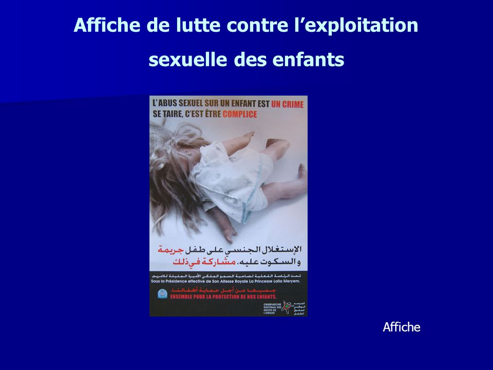 Affiche de lutte contre lexploitation sexuelle des enfants Affiche