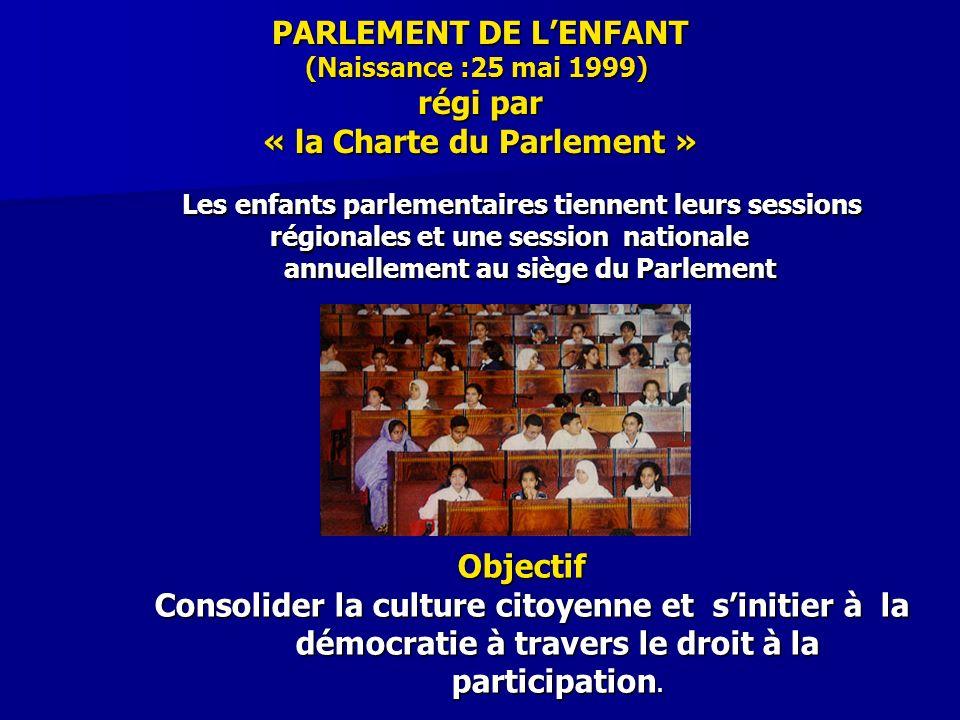 PARLEMENT DE LENFANT (Naissance :25 mai 1999) régi par « la Charte du Parlement » Les enfants parlementaires tiennent leurs sessions régionales et une