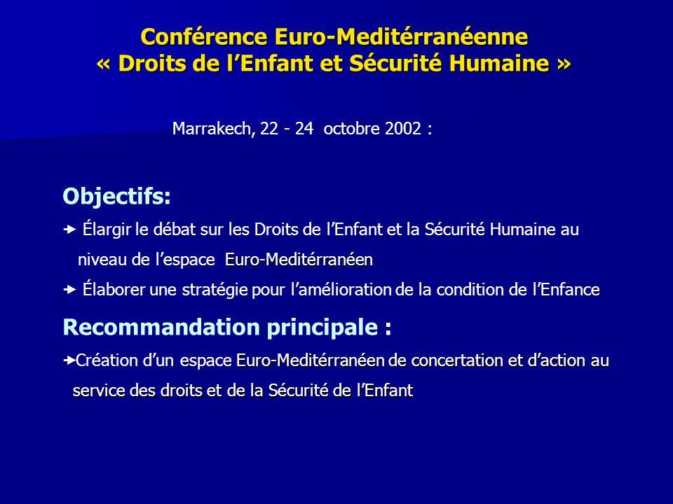 Conférence Euro-Meditérranéenne « Droits de lEnfant et Sécurité Humaine » Marrakech, 22 - 24 octobre 2002 : Objectifs: Élargir le débat sur les Droits