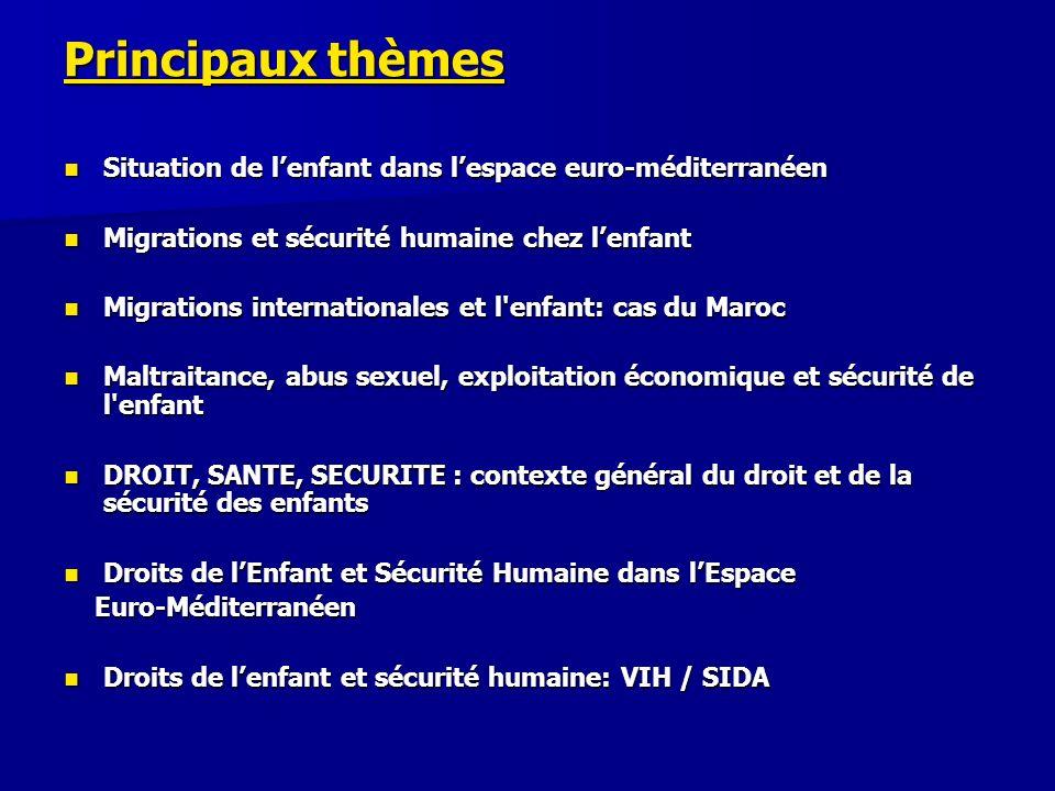 Principaux thèmes Situation de lenfant dans lespace euro-méditerranéen Situation de lenfant dans lespace euro-méditerranéen Migrations et sécurité hum