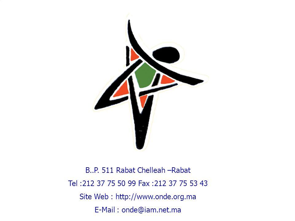B..P. 511 Rabat Chelleah –Rabat Tel :212 37 75 50 99 Fax :212 37 75 53 43 Site Web : http://www.onde.org.ma E-Mail : onde@iam.net.ma