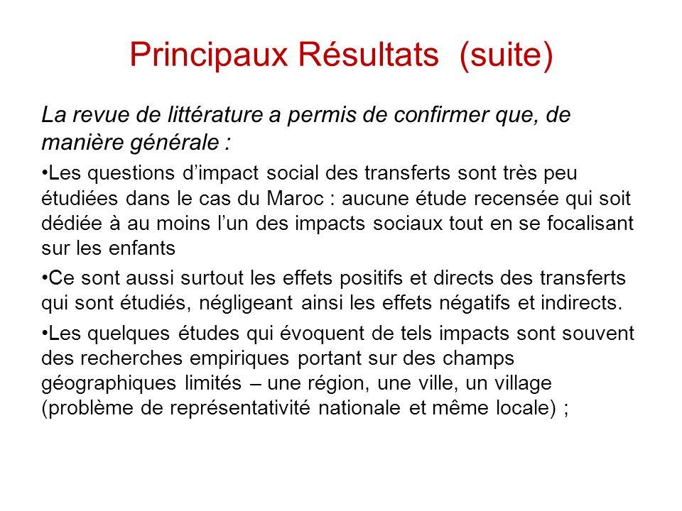 Principaux Résultats (suite) La revue de littérature a permis de confirmer que, de manière générale : Les questions dimpact social des transferts sont