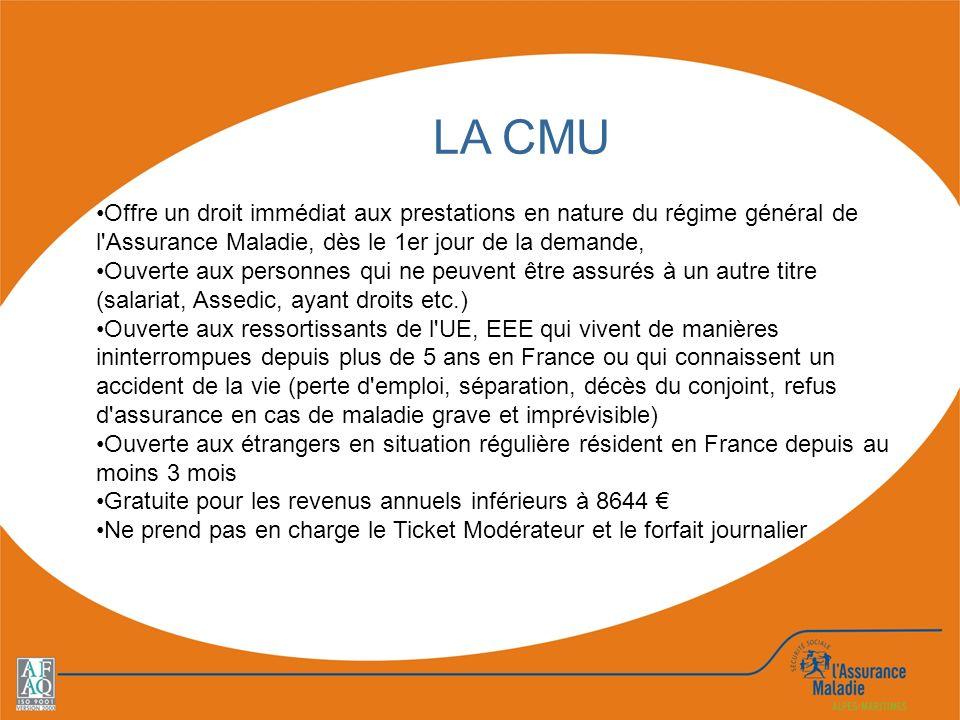 LA CMU Offre un droit immédiat aux prestations en nature du régime général de l'Assurance Maladie, dès le 1er jour de la demande, Ouverte aux personne