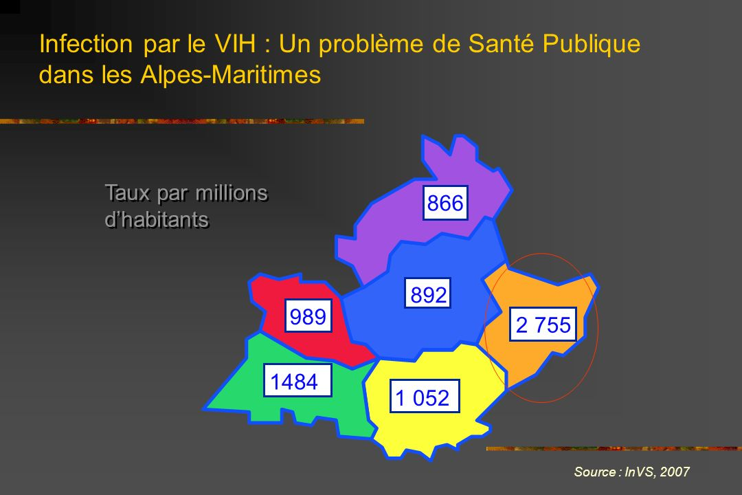Infection par le VIH : Un problème de Santé Publique dans les Alpes-Maritimes Source : InVS, 2007 989 1 052 1484 2 755 866 892 Taux par millions dhabi