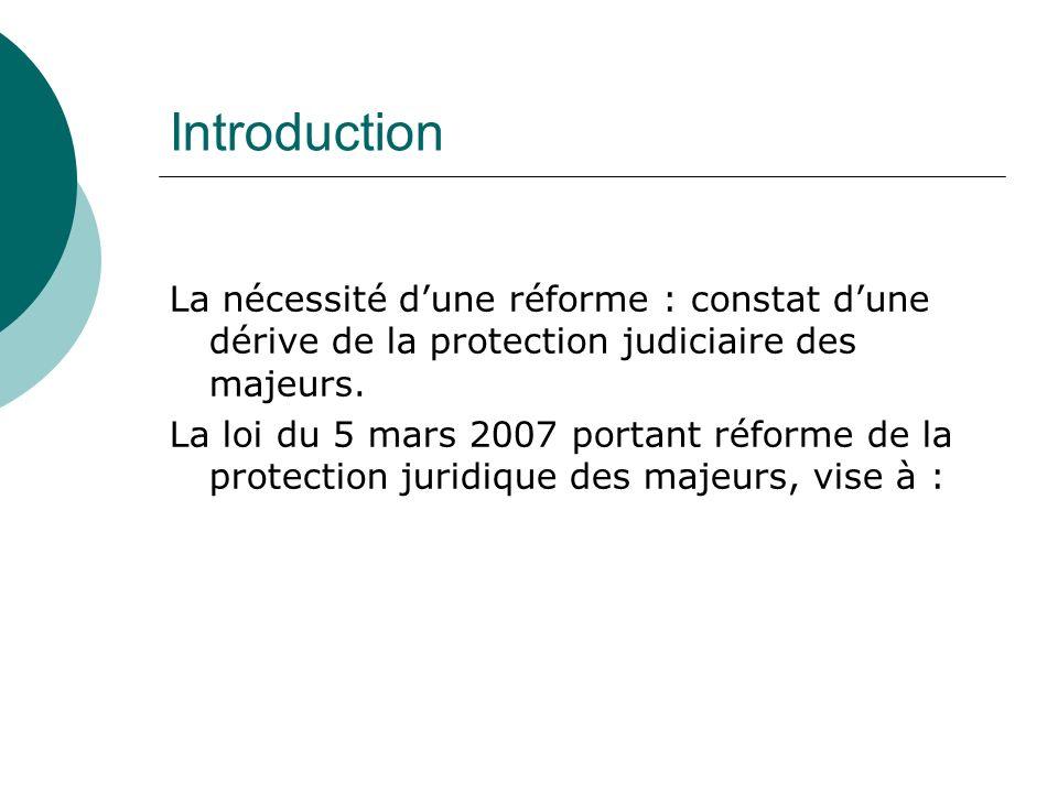Introduction La nécessité dune réforme : constat dune dérive de la protection judiciaire des majeurs. La loi du 5 mars 2007 portant réforme de la prot