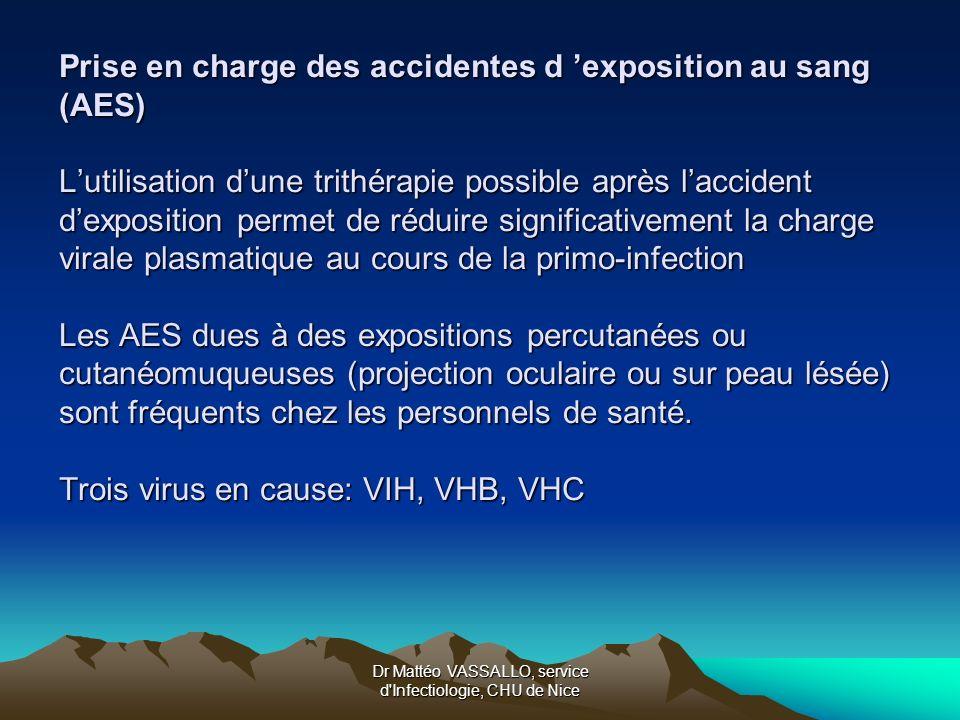 Dr Mattéo VASSALLO, service d'Infectiologie, CHU de Nice Prise en charge des accidentes d exposition au sang (AES) Lutilisation dune trithérapie possi