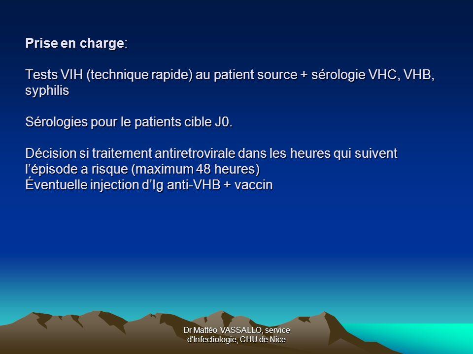 Dr Mattéo VASSALLO, service d'Infectiologie, CHU de Nice Prise en charge: Tests VIH (technique rapide) au patient source + sérologie VHC, VHB, syphili