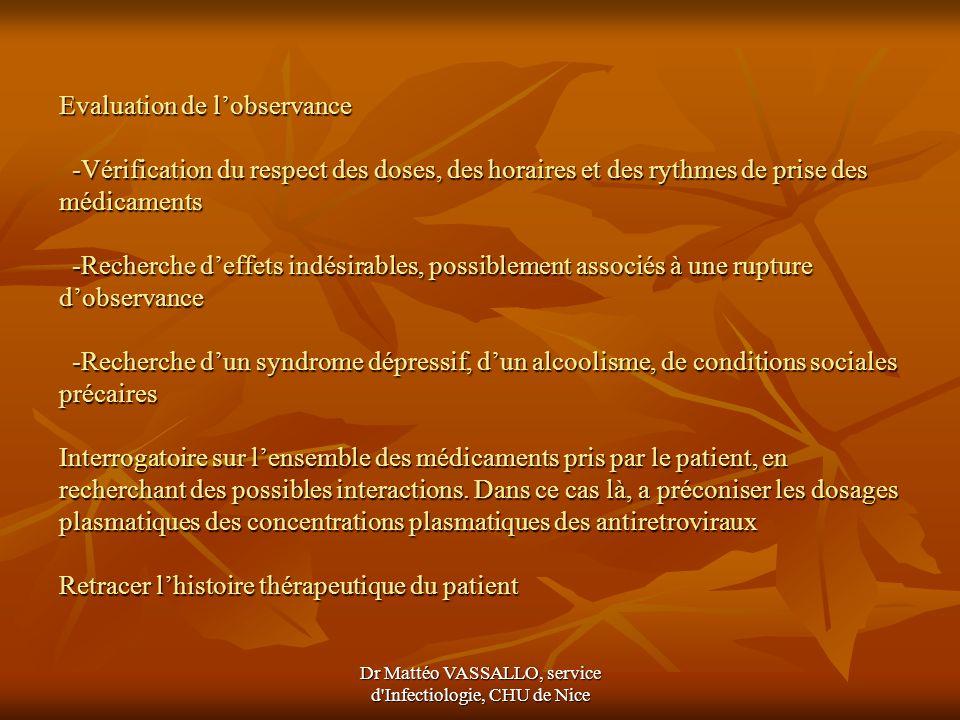 Dr Mattéo VASSALLO, service d'Infectiologie, CHU de Nice Evaluation de lobservance -Vérification du respect des doses, des horaires et des rythmes de
