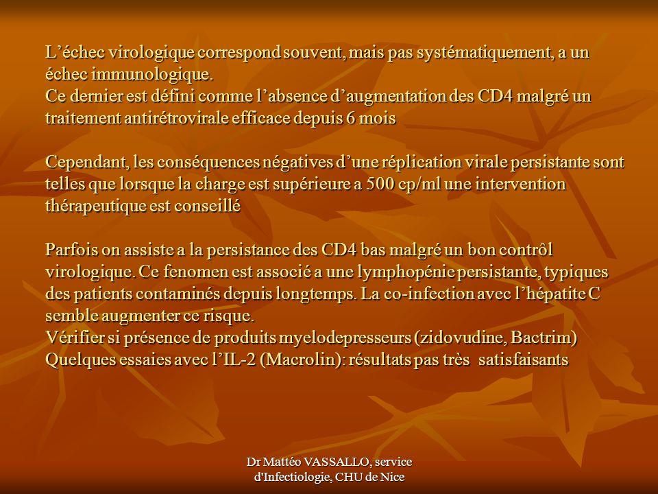 Dr Mattéo VASSALLO, service d'Infectiologie, CHU de Nice Léchec virologique correspond souvent, mais pas systématiquement, a un échec immunologique. C