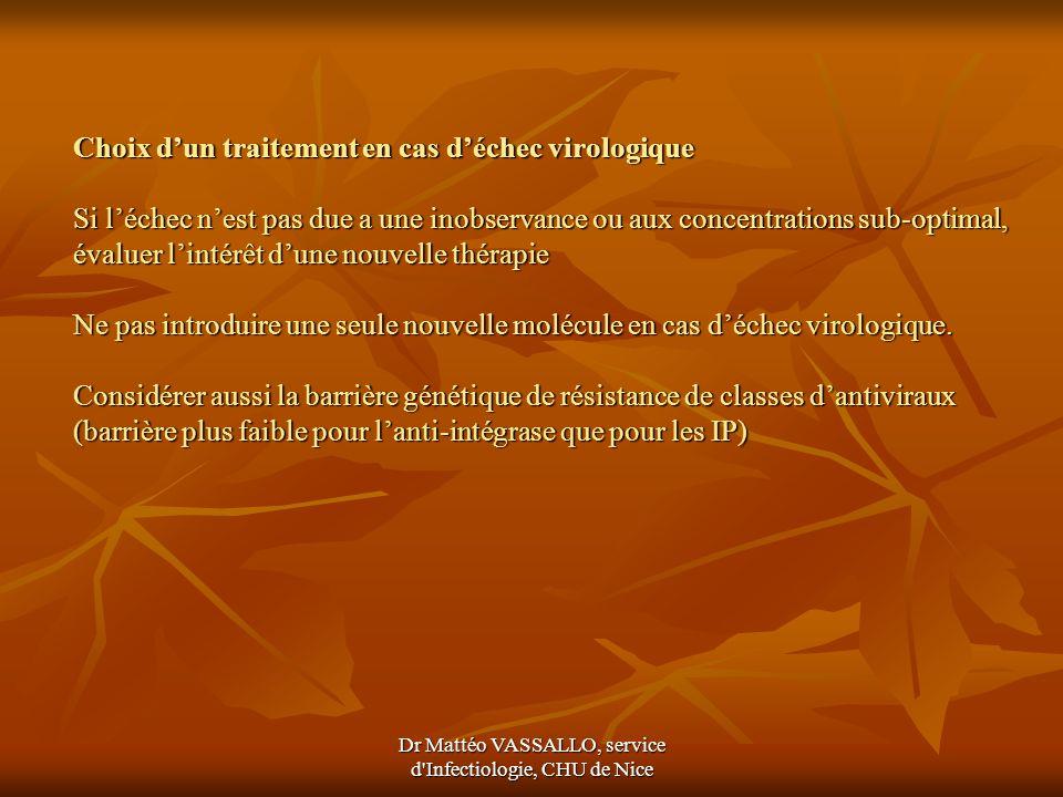 Dr Mattéo VASSALLO, service d'Infectiologie, CHU de Nice Choix dun traitement en cas déchec virologique Si léchec nest pas due a une inobservance ou a