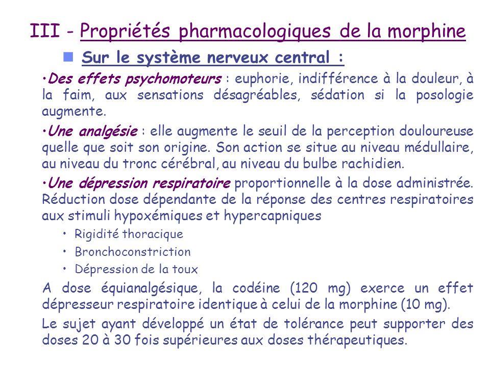 III - Propriétés pharmacologiques de la morphine n Sur le système nerveux central : Des effets psychomoteurs : euphorie, indifférence à la douleur, à