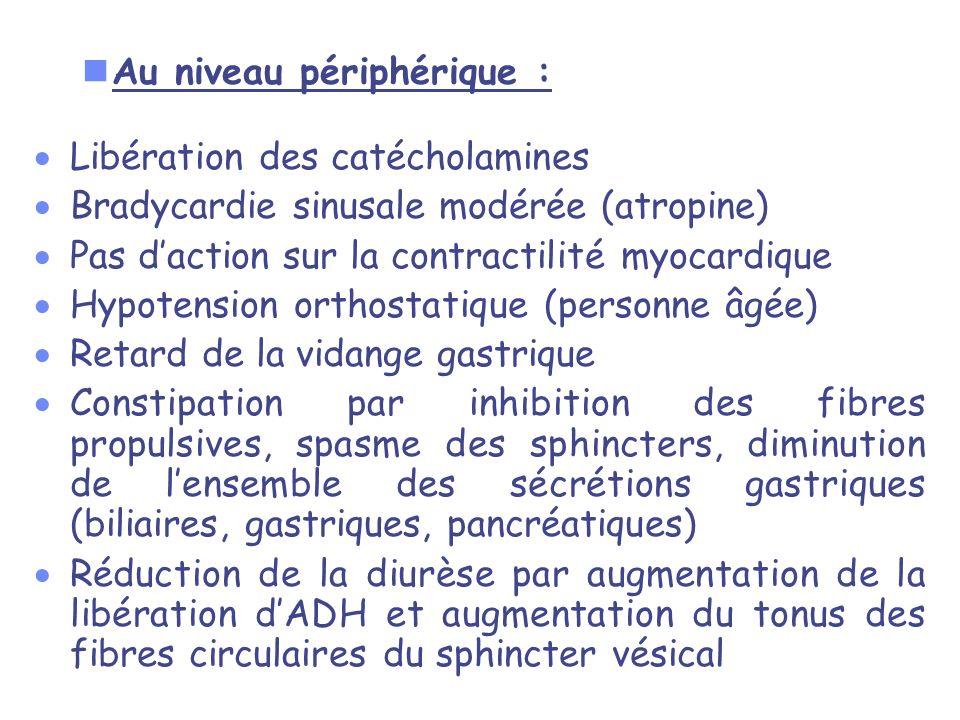 nAu niveau périphérique : Libération des catécholamines Bradycardie sinusale modérée (atropine) Pas daction sur la contractilité myocardique Hypotensi