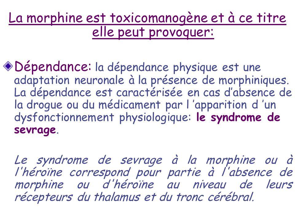 La morphine est toxicomanogène et à ce titre elle peut provoquer: Dépendance: la dépendance physique est une adaptation neuronale à la présence de mor