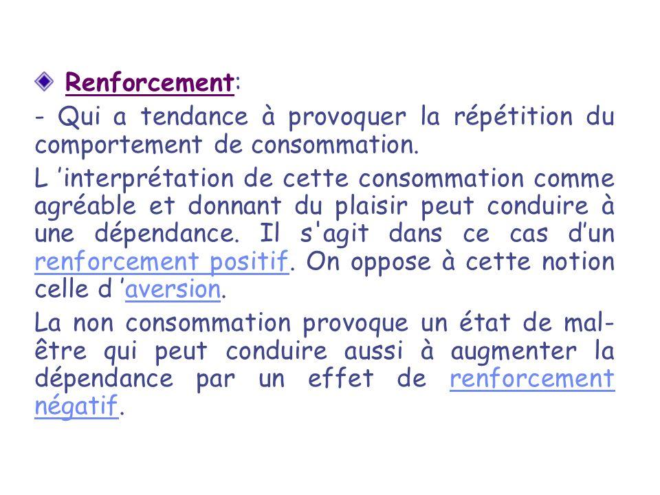Renforcement: - Qui a tendance à provoquer la répétition du comportement de consommation. L interprétation de cette consommation comme agréable et don