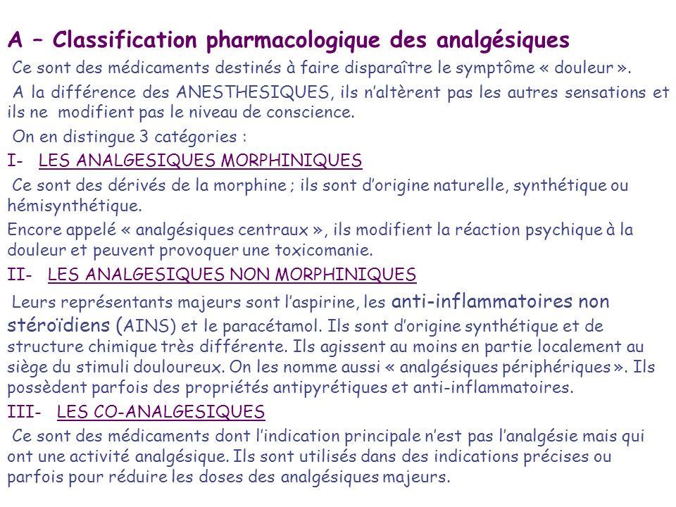 A – Classification pharmacologique des analgésiques Ce sont des médicaments destinés à faire disparaître le symptôme « douleur ». A la différence des