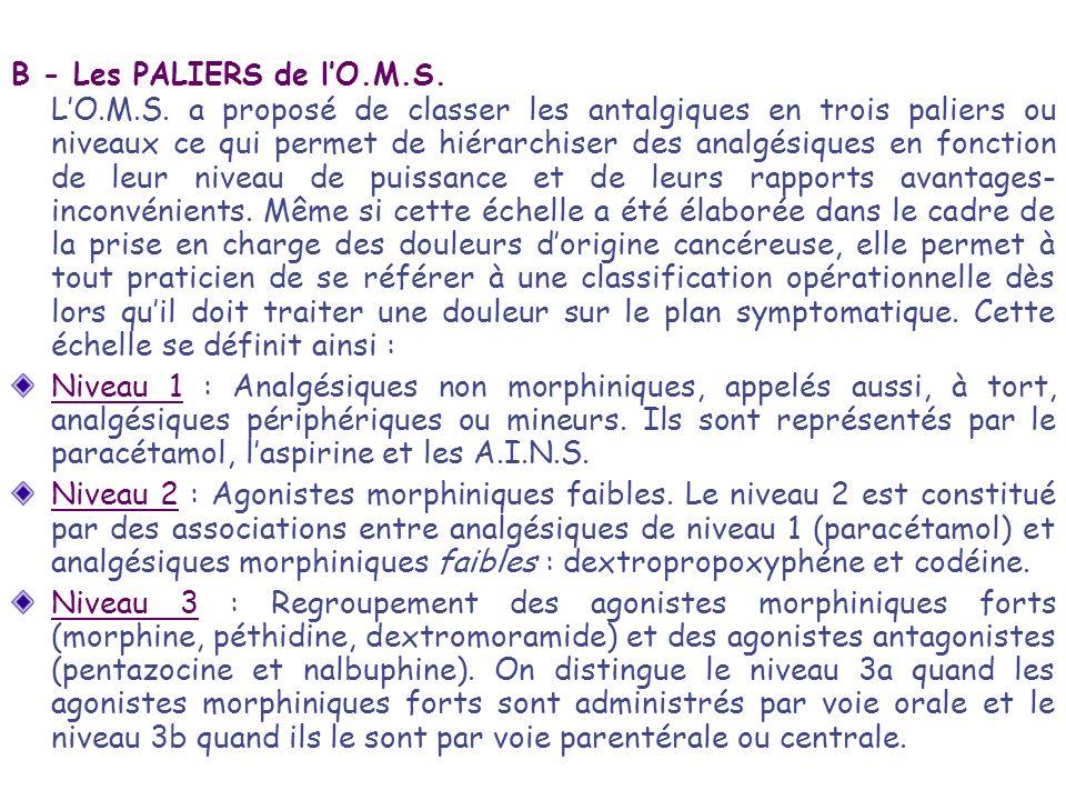 B - Les PALIERS de lO.M.S. LO.M.S. a proposé de classer les antalgiques en trois paliers ou niveaux ce qui permet de hiérarchiser des analgésiques en