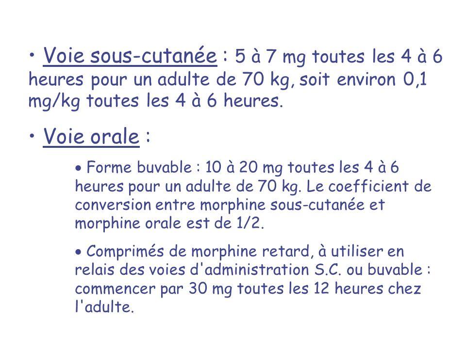 Voie sous-cutanée : 5 à 7 mg toutes les 4 à 6 heures pour un adulte de 70 kg, soit environ 0,1 mg/kg toutes les 4 à 6 heures. Voie orale : Forme buvab