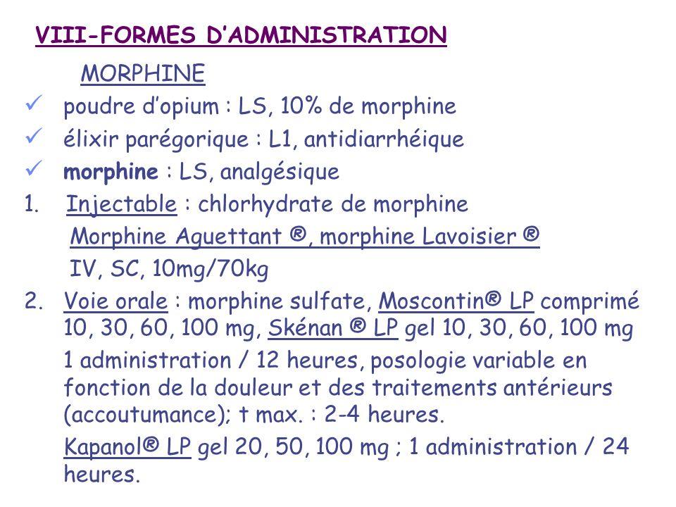 VIII-FORMES DADMINISTRATION MORPHINE poudre dopium : LS, 10% de morphine élixir parégorique : L1, antidiarrhéique morphine : LS, analgésique 1. Inject