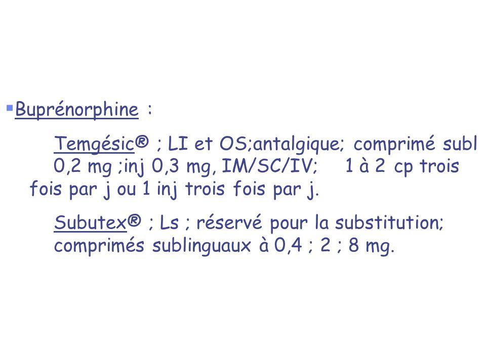 Buprénorphine : Temgésic® ; LI et OS;antalgique; comprimé subl 0,2 mg ;inj 0,3 mg, IM/SC/IV; 1 à 2 cp trois fois par j ou 1 inj trois fois par j. Subu