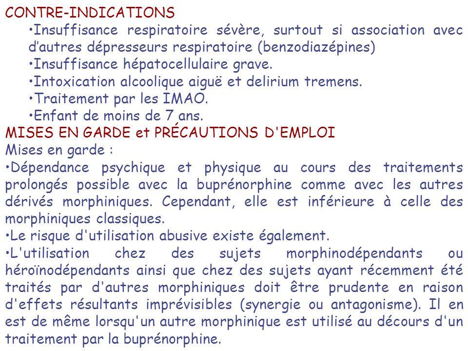 CONTRE-INDICATIONS Insuffisance respiratoire sévère, surtout si association avec dautres dépresseurs respiratoire (benzodiazépines) Insuffisance hépat