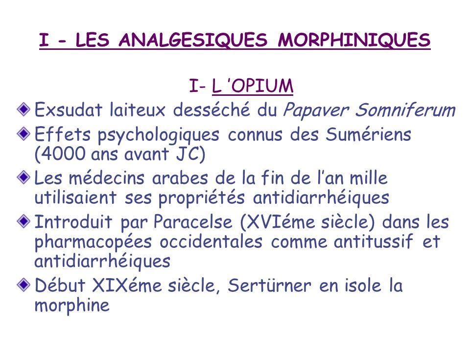 I - LES ANALGESIQUES MORPHINIQUES I- L OPIUM Exsudat laiteux desséché du Papaver Somniferum Effets psychologiques connus des Sumériens (4000 ans avant