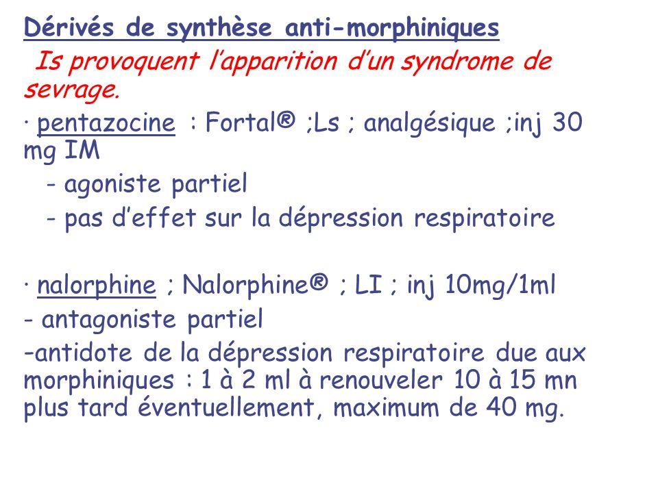 Dérivés de synthèse anti-morphiniques Is provoquent lapparition dun syndrome de sevrage. · pentazocine : Fortal® ;Ls ; analgésique ;inj 30 mg IM - ago