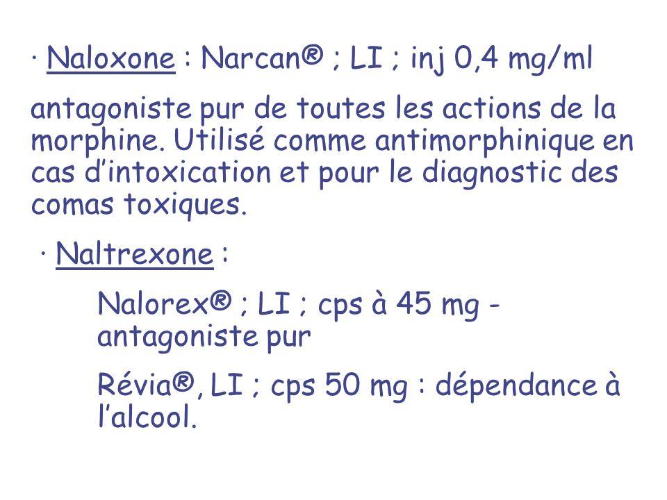 · Naloxone : Narcan® ; LI ; inj 0,4 mg/ml antagoniste pur de toutes les actions de la morphine. Utilisé comme antimorphinique en cas dintoxication et