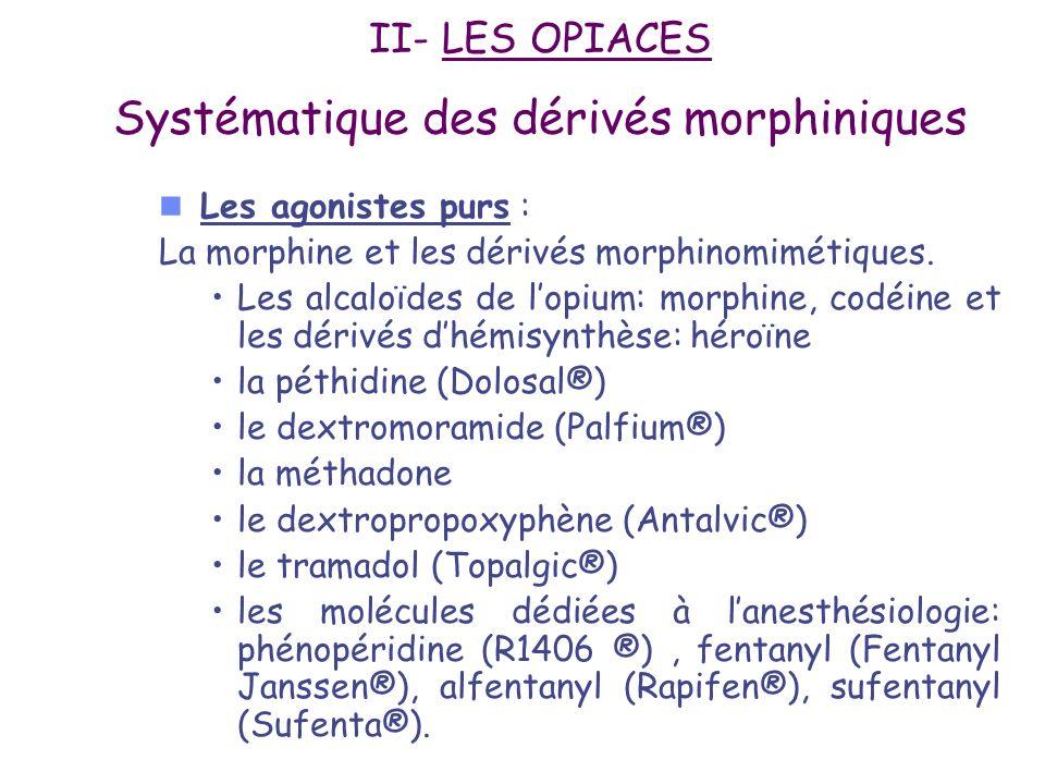 Excrétion : Urinaire, 90% de la dose est excrétée en 24 heures –Glucuroconjugaison +++ M3G: inactif M6G: agoniste morphinique, 15 fois plus actif que la morphine, accumulation en cas IR adaptation de posologie –Sulfoconjugaison –N-déméthylation (normorphine active)