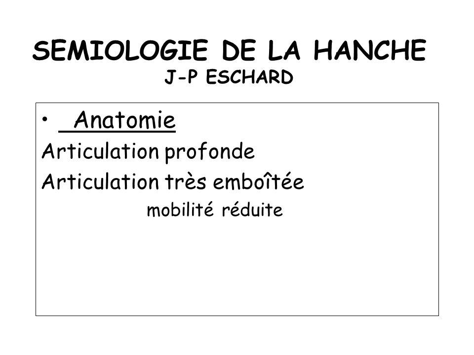 SEMIOLOGIE DE LA HANCHE J-P ESCHARD Anatomie Articulation profonde Articulation très emboîtée mobilité réduite